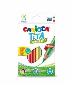 Creioane colorate 12 culori set CARIOCA Tita Triangular Maxi.