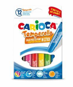 Set 12 creioane tempera solida, lavabile CARIOCA Temperello.