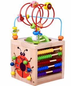 Cub educativ 6 in 1 din lemn cu 6 activitati educative pentru copii mici.