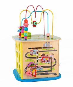Cub educativ multifunctional din lemn cu labirint masinute si roti zimtate