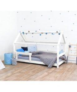 Pat pentru copii, din lemn de molid cu bariere de protecție laterale Benlemi Tery, 120 x 180 cm, alb