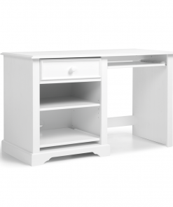 Masa de birou din lemn de pin si pal, cu 1 sertar pentru copii si tineret Pallas Junior Alb, L124xl58xH75 cm