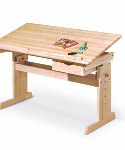 Masa de birou pentru copii, din lemn de pin Julia Natural, L109xl55xH63-96 cm