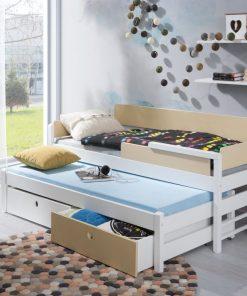 Pat suprapus din lemn de pin, cu 2 sertare pentru copii Natu I, 200 x 90 cm