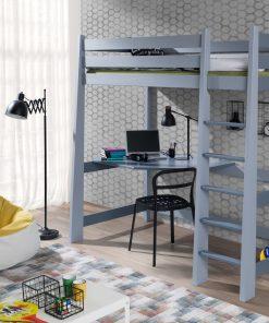 Pat etajat din lemn de pin, cu birou incorporat pentru copii Milosz, 200 x 90 cm