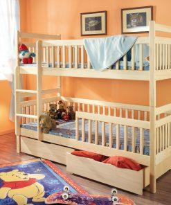 Pat supraetajat din lemn de pin, cu 2 sertare pentru copii Aleksander, 200 x 90 cm