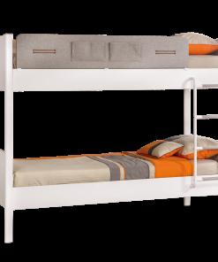 Pat etajat din pal si metal, pentru tineret Dynamic White / Light Grey, 190 x 100 cm