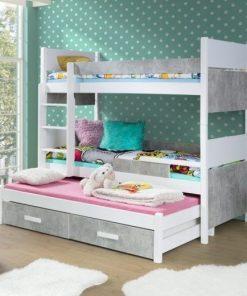 Pat supraetajat din lemn de pin si pal, cu 2 sertare si 3 locuri, pentru copii Augusto Alb / Lazur Gri, 200 x 90 cm