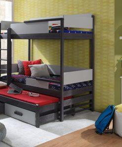 Pat supraetajat din lemn de pin si pal, cu 2 sertare si 3 locuri, pentru copii Quatro, 200 x 90 cm
