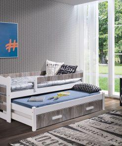 Pat suprapus din lemn de pin si pal, cu 2 sertare pentru copii Tiago II Alb Acril / Stejar Gri, 200 x 90 cm