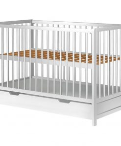 Patut bebe din lemn cu sertar Hubners, 120X60 cm, Alb