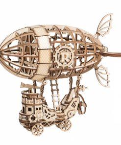 Puzzle 3D Dirijabil Steampunk, Lemn, 176 piese