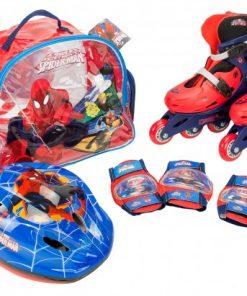 Role copii Saica reglabile 35-38 Spiderman cu protectii si casca in ghiozdan