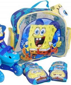 Role copii Saica reglabile 35-38 Sponge Bob cu protectii si casca in ghiozdan