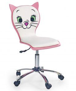 Scaun de birou pentru copii, tapitat cu piele ecologica Kara 2 Alb / Roz, l44xA45xH83-95 cm