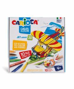Set creativ Carioca Create Color Avion Jet 3D, 10 carioci set si 2 planse.