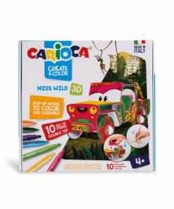 Set creativ Carioca Create Color Miss Wild masina 3D, 10 carioci set si 2 planse.