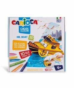 Set creativ Carioca Create Color Barca Mr. Boat 3D, 10 carioci set si 2 planse.