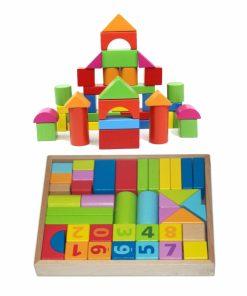 Set cuburi constructie din lemn, colorate si distractive.