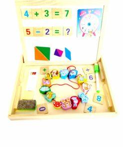 Tabla magnetica educativa si puzzle din lemn 4 in 1. Animale de snuruit