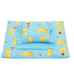 Lenjerie de pat cu ursuleti albastra