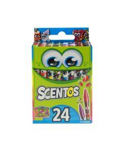 Set 24 creioane cerate parfumate Scentos, multicolor