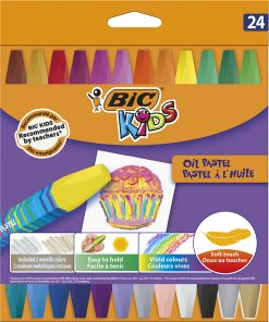 Creioane cerate Pastel Bic, 24 culori