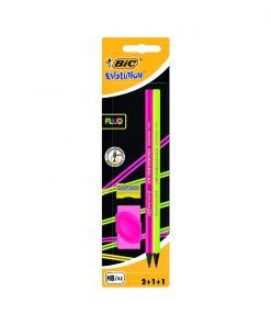 Set 2 creioane cu radiera si ascutitoare Evolution Fluo Bic, Roz