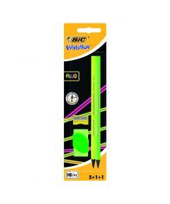 Set 2 creioane cu radiera si ascutitoare Evolution Fluo Bic, Verde