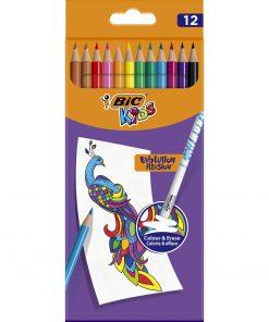 Creioane colorate cu guma de sters Evolution Illusion Bic, 12 culori
