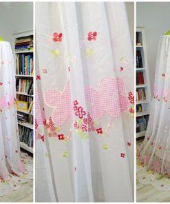 Baldachin de tavan din voal diametru 75 cm alb cu verde si roz