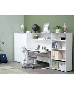 Biblioteca pentru birou cu 1 polita si spatiu organizare cabluri Mdf alb Flexa