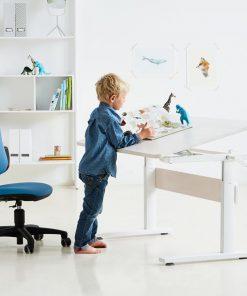 Birou copii alb opac cu plansa de lucru rabatabila Flexa