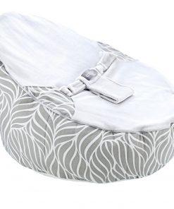 Fotoliu pentru bebelusi cu ham de siguranta Baby Bean Bed Grey Leaves
