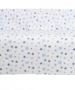 Set lenjerie patut cu 5 piese Blue and Grey Stars white