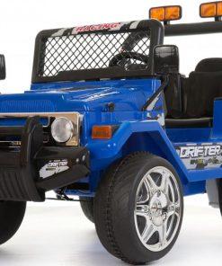 Masinuta electrica cu doua locuri si roti din plastic Drifter Jeep 4x4 Albastru