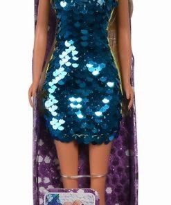 Papusa steffi cu rochie cu paiete albastre