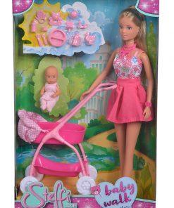 Papusa steffi in rochita roz si cu carucior bebe