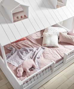Pat casuta Lifetime Beach House Luxury lemn de pin alb 140 cm