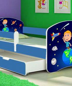 Patut tineret cu sertar si saltea Solar System 160x80
