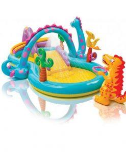 Piscina gonflabila pentru copii cu tobogan si dinosauri intex 57135np