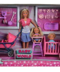 Set papusa steffi cu 3 bebelusi si accesorii