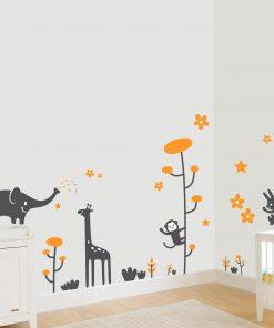 Stickere perete copii Animale vesele - 137 x 116 cm