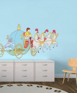 Stickere perete copii Cenusareasa in caleasca - 110 x 60 cm