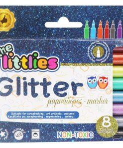 Set de 8 markere cu sclipici, The Littlies
