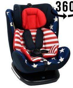 Scaun Auto Tweety Captain America cu Isofix rotativ 360 grade Crocodile 0 36 kg baza neagra