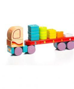 Jucarie din lemn Cubika Camion cu forme geometrice, 18luni+