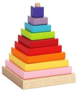 Jucarie din lemn Cubika Piramida culorilor, 18luni+