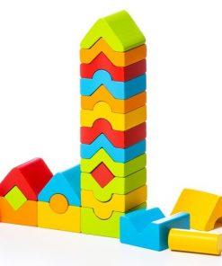 Jucarie din lemn Cubika Turnulete pentru indemanare, 18luni+