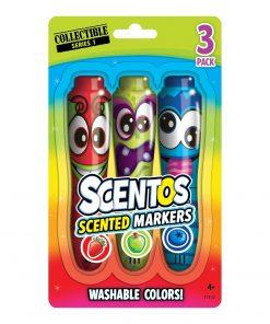 Set 3 markere parfumate Scentos - rosu, verde, albastru